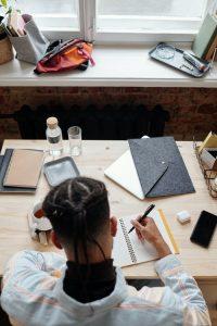 A kids writing homework
